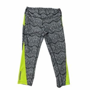 Nike Gray & Lime Green Cropped Work Out Leggings S